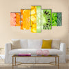 Healthy food background, collection with different fruits, berries and vegetables Multi panel canvas wall art