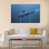3D submarine under water front view Multi panel canvas wall art