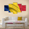3d rendered and waving flag of Romania Chad Multi panel canvas wall art