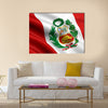 3d rendered and waving flag of Peru multi panel canvas wall art