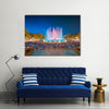 Night view of Magic Fountain in Barcelona Multi panel canvas wall art