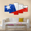 Chile Flag with a vintage and old look Multi panel canvas wall art