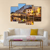 Pretty Bridge across the Naviglio Grande canal at the evening in Milan, Italy multi panel canvas wall art