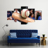 Baseball Bat Hitting Ball Multi Panel Canvas Wall Art