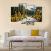 Beautiful colorful landscape with a stream and forest in autumn colors Multi Panel Canvas Wall Art