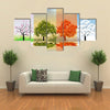 The Tree And Lake Reflection Of The Four Seasons Of The Year, Multi Panel Canvas Wall Art