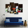 Christmas drinks, alcoholic beverages and cocktails in glasses Multi panel canvas wall art