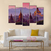 Ancient temple in Bagan after sunset , Myanmar Multi panel canvas wall art