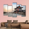 Xian city wall and ancient tower at dusk multi panel canvas wall art