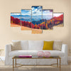 Colorful autumn landscape in the mountain village Multi panel canvas wall art