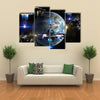 Alien Spaceship Fleet Attacking Earth Multi Panel Canvas Wall Art