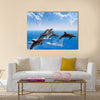 Jumping Dolphins, Blue Sea And Sky, White Clouds Multi Panel Canvas Wall Art