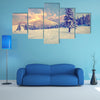 A Beautiful Winter Sunrise In The Mountains Multi Panel Canvas Wall Art