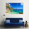 Scene Of The Faraglioni Cliffs And A Beach And Sunrise, Multi Panel Canvas Wall Art