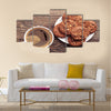 Plate with chocolate cookies and cup of hot coffee Multi Panel Canvas Wall Art