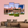 Indianapolis skyline and the White River at sunset Multi panel canvas wall art.