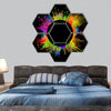 Colored splashes hexagonal canvas wall art