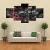 Spaceship Travelling To Galaxy Multi Panel Canvas Wall Art