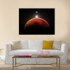 Planet Mars with moon, illustration Multi Panel Canvas Wall Art