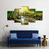 The Scenery Of The Tranquil River Beside The Mountain River In The Green Forest, Multi Panel Canvas Wall Art
