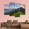 Rainbow over mountain peak Multi panel canvas wall art