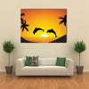 Dolphin jumping up from the Ocean at Sunset Multi Panel Canvas Wall Art