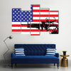 US Soldier Illustrating In Front Of The National FlagMulti Panel Canvas Wall Art