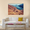Beautiful landscape, curve road in dry Arabian mountains over sea, exotic travel to the Arab country, multi panel canvas wall art