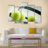 A set of tennis. Racket and ball. Studio shot Multi panel canvas wall art