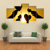 hands holding hearts silhouette multi panel canvas wall art