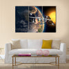 International Space Station In Earth's Orbit Multi Panel Canvas Wall Art