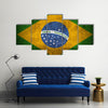 Weathered Flag Of Brazil Multi Panel Canvas Wall Art