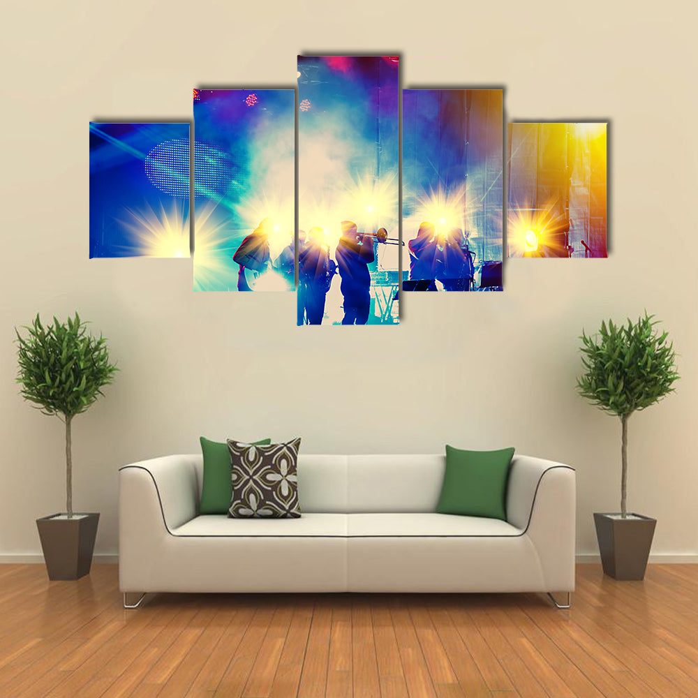 Ensemble Playing Night Concert on the Stage Multi Canvas Print Wall Art