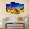 Azneft square during evening hours in Baku Azerbaijan Multi panel canvas wall art