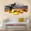 Beautiful Dolphins Near Hawaii Multi Panel Canvas Wall Art