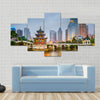 Guiyang, China city skyline on the river Multi panel canvas wall art