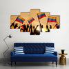 People Holding Flags of Colombia in his hands Multi panel canvas wall art