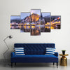Church and Citadel reflecting in river, Dinant, Wallonia, Belgium Multi panel canvas wall art