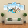 Travel the world monument concept Multi panel canvas wall art