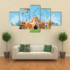 Vector Illustration of Circus Tent Trade Fair Complex in the Meadow Multi panel Canvas Wall Art