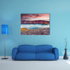 Sunset over Ljotipollur Lake in the crater of volcano canvas wall art