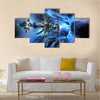 Futuristic Scenery of Alien Spaceship Entering A Wormhole Multi Panel Canvas Wall Art