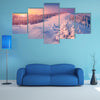 A Colorful Winter Sunrise In The Mountains Multi Panel Canvas Wall Art