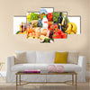 Composition with variety of grocery products isolated on white Multi panel canvas wall art
