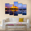 Hassan II Mosque during the sunset in Casablanca, Morocco Multi Panel Canvas Wall Art