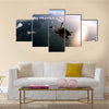 Portrait Of Two Tandem Skydivers In Action Parachuting Through The Air Multi Panel Canvas Wall Art