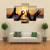 Love sign language at the sunset time multi panel canvas wall art