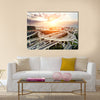 skyline and traffic trails on highway intersection multi panel canvas wall art