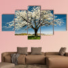 Single blossoming tree in spring multi panel canvas wall art