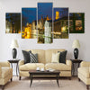 Night cityscape with a tower Belfort and Green canal Multi panel canvas wall art
